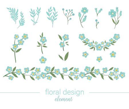 Ensemble d'art clip floral bleu de vecteur. Illustration plate à la mode avec des fleurs, des feuilles, des branches. Prairie, bois, éléments de jardin forestier isolés sur fond blanc. Myosotis dessiné à la main