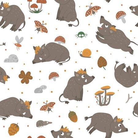 Vector seamless pattern of hand drawn flat funny boars in different poses. Cute repeat background with woodland animals, mushrooms, insects. Sweet animalistic ornament for children's design. Иллюстрация