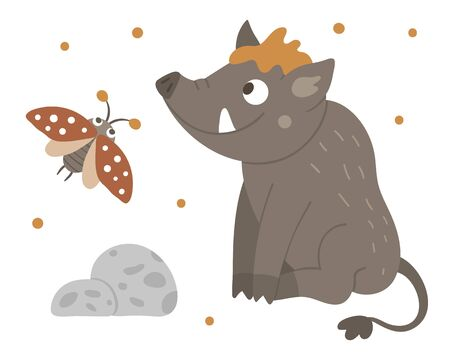 Vector hand drawn flat boar with an insect. Funny woodland animal. Cute forest pig illustration for children's design, print, stationery