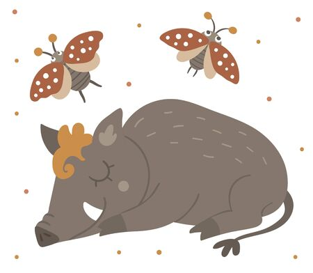 Vector hand drawn flat sleeping boar with an insect. Funny woodland animal. Cute forest pig illustration for children's design, print, stationery