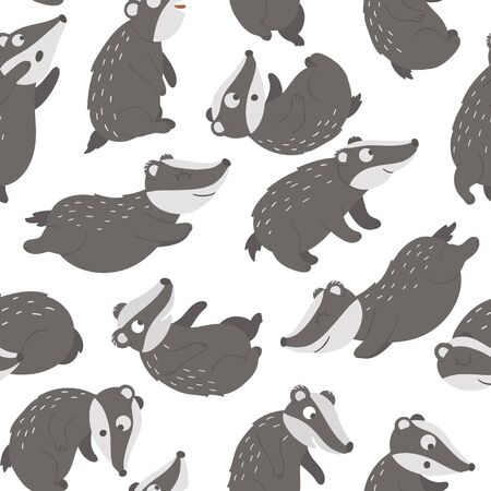 Vector seamless pattern of hand drawn flat funny badgers in different poses. Cute repeat background. Sweet animalistic ornament for children's design. Иллюстрация