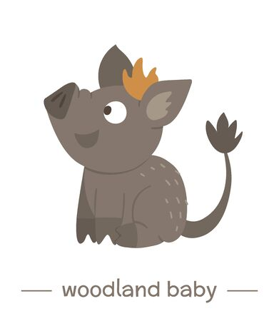 Vector hand drawn flat baby wild boar. Funny woodland animal icon. Cute forest animalistic illustration for children's design, print, stationery