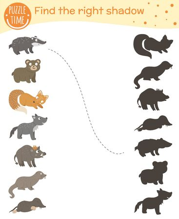 Shadow matching activity for children with woodland animals. Cute funny smiling wolf, bear, fox, badger, mole, otter, wild boar. Find the correct silhouette game. Illustration