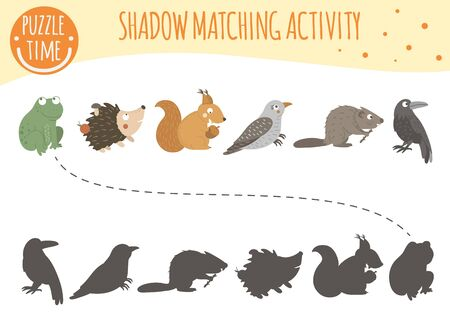 Shadow matching activity for children with woodland animals. Cute funny smiling frog, hedgehog, squirrel, cuckoo, beaver, raven. Find the correct silhouette game.