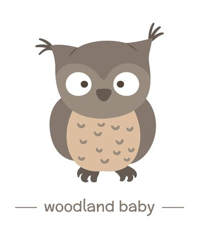 Vector hand drawn flat baby owl. Funny woodland animal icon. Cute forest animalistic illustration for children's design, print, stationery