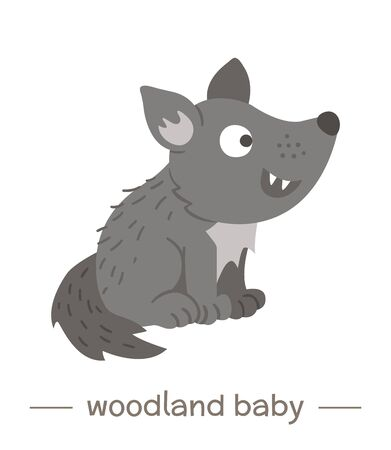 Vector hand drawn flat baby wolf. Funny woodland animal icon. Cute forest animalistic illustration for children's design, print, stationery