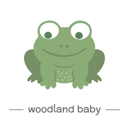 Vector hand drawn flat baby frog. Funny woodland animal icon. Cute forest animalistic illustration for children's design, print, stationery Stock Illustratie