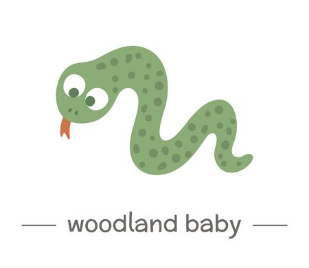 Vector hand drawn flat baby snake. Funny woodland animal icon. Cute forest animalistic illustration for children's design, print, stationery