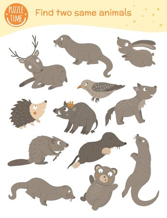 Find two same animals. Matching activity for children. Funny woodland game for kids. Logical quiz worksheet.