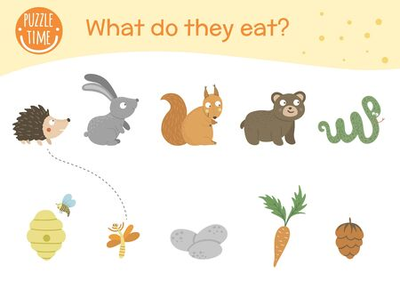 What do they eat. Matching activity for children with animals and food they eat. Funny woodland game for kids. Logical quiz worksheet. Foto de archivo - 129904298