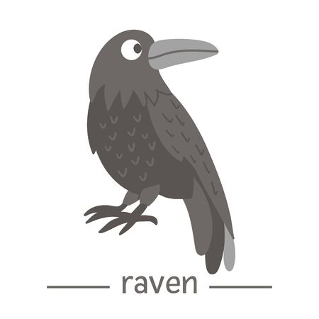 Vector hand drawn flat raven. Funny woodland bird icon. Cute forest animalistic illustration for children's design, print, stationery