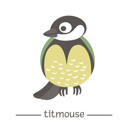 Vector hand drawn flat titmouse. Funny woodland bird icon. Cute forest animalistic illustration for children's design, print, stationery