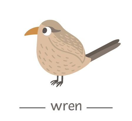 Vector hand drawn flat wren. Funny woodland bird icon. Cute forest animalistic illustration for children's design, print, stationery