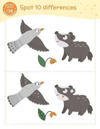 Find differences game for children. Preschool activity with flying bird and baby badger. Puzzle with animals. Cute funny smiling characters. Stockfoto - 129904343
