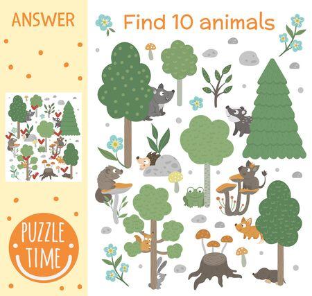 Juego de búsqueda para niños con animales y árboles en el bosque. Tema del bosque. Lindos personajes sonrientes divertidos. Encuentra animales escondidos.