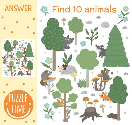 Searching game for children with animals and trees in the forest. Woodland topic. Cute funny smiling characters. Find hidden animals. Illustration