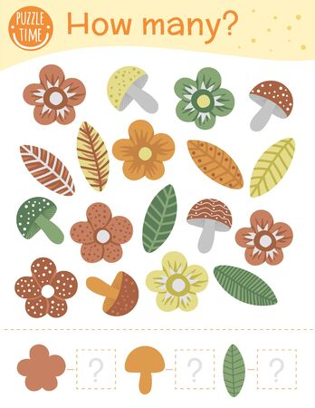 Counting game with flowers, leaves, mushrooms. Math activity for preschool children. How many objects worksheet. Educational riddle with cute funny pictures.