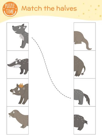 Connect the halves worksheet.  Matching game for preschool children with forest animals. Educational activity with cute funny characters.