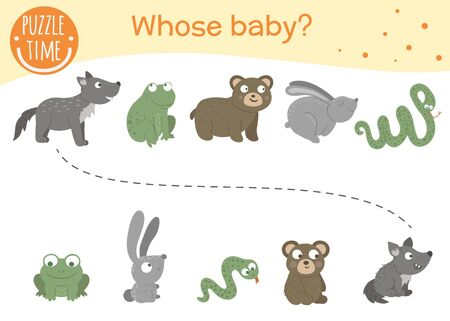 Whose baby matching activity for preschool children. Connect the animal with its baby. Funny woodland game for kids. Logical quiz worksheet.