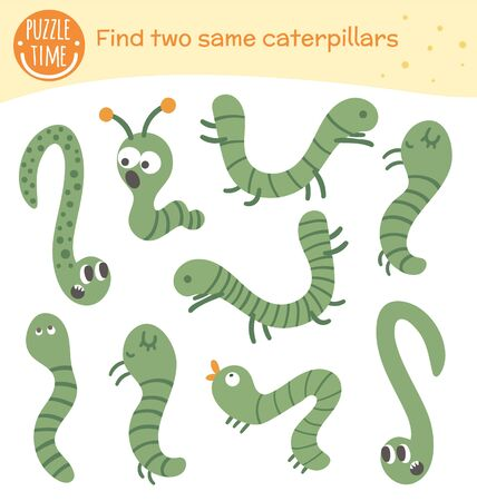 Find two same insects. Matching activity for preschool children with green caterpillars. Funny woodland game for kids. Logical quiz worksheet. 일러스트