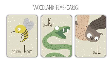 Colorful alphabet letters J, K, L. Phonics flashcard. Cute woodland themed ABC cards for teaching reading with funny yellow jacket, snake, owl. Illusztráció