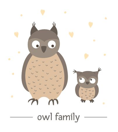 Vector hand drawn flat baby owl with parent. Funny woodland animal scene showing family love. Cute forest animalistic illustration for children's design, print, stationery