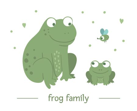 Vector hand drawn flat baby frog with parent. Funny woodland animal scene showing family love. Cute forest animalistic illustration for children's design, print, stationery Stockfoto - 129904381
