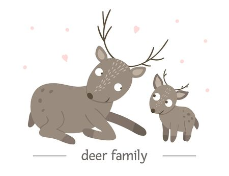 Vector hand drawn flat baby deer with parent. Funny woodland animal scene showing family love. Cute forest animalistic illustration for children's design, print, stationery