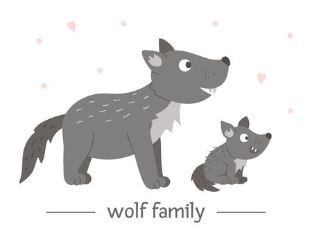 Vector hand drawn flat baby wolf with parent. Funny woodland animal scene showing family love. Cute forest animalistic illustration for children's design, print, stationery Иллюстрация