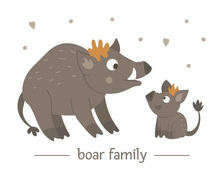 Vector hand drawn flat baby boar with parent. Funny woodland animal scene showing family love. Cute forest animalistic illustration for children's design, print, stationery Иллюстрация