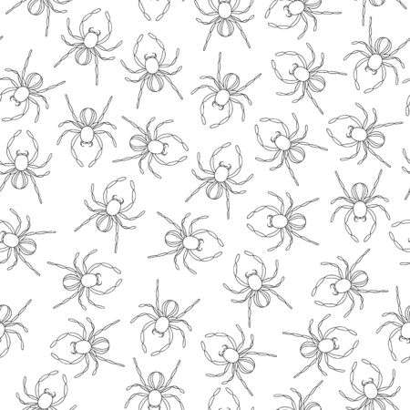 Vector seamless pattern of black and white insects. Repeat background with isolated monochrome spider. Good for clothes for teenagers, stationery, wallpaper and gift paper. Cartoon style. Иллюстрация