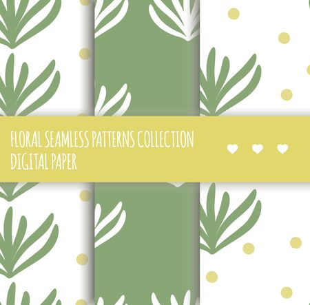 Vector set of abstract seamless textures on white background. Collection of hand drawn flat simple trendy illustrations with green leaves and yellow dots. Repeating pattern Scandinavian style.