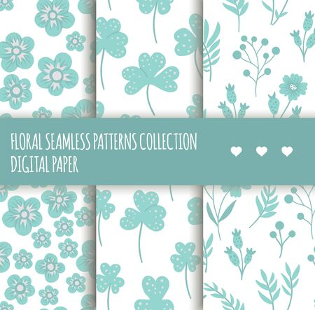 Vector set of blue floral seamless backgrounds. Collection of hand drawn flat simple trendy illustrations with flowers and leaves. Repeating pattern with meadow, garden, forest plants. Иллюстрация