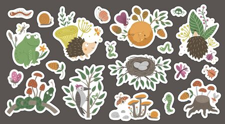 Cute forest themed stickers for children on dark background. Bright flat illustration of woodland animals, insects, mushrooms, plants, foliage. Nature inspired smiling characters for kids Иллюстрация