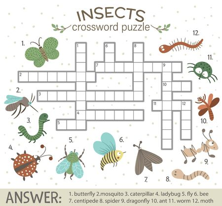 Vector crossword puzzle with forest insects. Bright and colorful quiz for children. Educational activity with ant, caterpillar, butterfly, dragonfly, Warm, Bee.