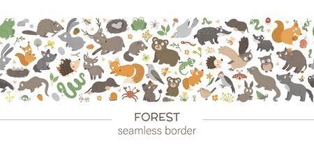 seamless pattern brush with forest animals and elements on white background. Woodland border ornament. Hand drawn flat illustration for children's design
