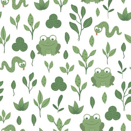 Vector seamless pattern of hand drawn flat funny baby snake and frog with leaves. Forest themed repeating background for children's design. Cute animalistic backdrop  Иллюстрация