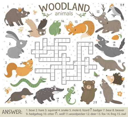 crossword puzzle with forest animals. Bright and colorful quiz for children. Educational activity with fox, wolf, bear, squirrel, hare, deer.