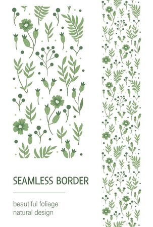Vector seamless pattern brush with green leaves, berries, flowers on white background. Floral border ornament. Trendy hand drawn flat illustration with greenery, forest plants