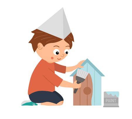 Flat funny sitting kid character painting a nestling box. Craft lesson illustration. Concept of a child learning how to work. Picture for workshop or masterclass advertisement