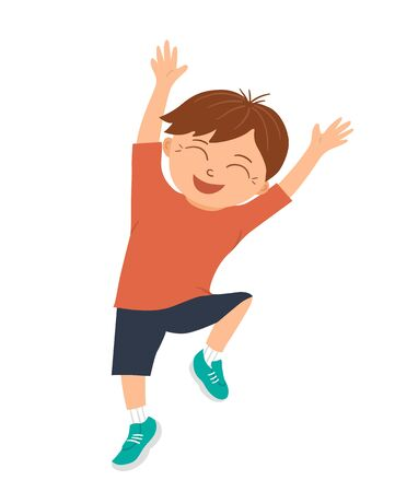 Vector smiling boy jumping with joy and happiness with his hands up. Joyful, delighted, happy kid character. Hilarious child picture for children's design. Flat funny illustration of good mood