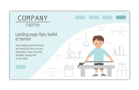 card, banner or landing page template for building, repairing service company or craft masterclass website. flat illustration of a man taking measurements on workshop background. Illusztráció