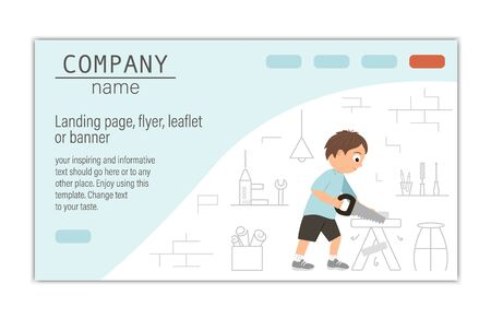 card, banner or landing page template for building, repairing service company or craft masterclass website. flat illustration of a man sawing wood with a saw on workshop background. Funny male character working with tools.