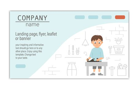 card, banner or landing page template for building, repairing service company or craft masterclass website.  flat illustration of a man plane with on workshop background. Funny male character working with tools. Иллюстрация