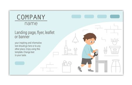 card, banner or landing page template for building, repairing service company or craft masterclass website. flat illustration of a man screwing a screw with a screwdriver on workshop background.