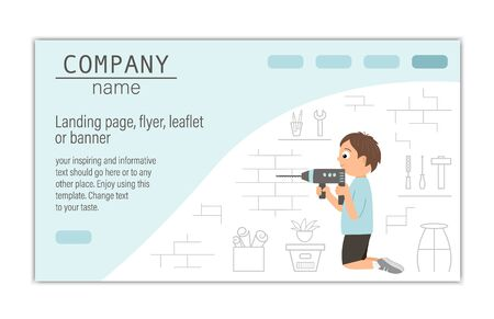 card, banner or landing page template for building, repairing service company or craft masterclass website. flat illustration of a man drilling a brick wall on workshop background.