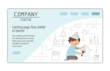 card, banner or landing page template for building, repairing service company or craft masterclass website. flat illustration of a man painting a nestling box on workshop background.