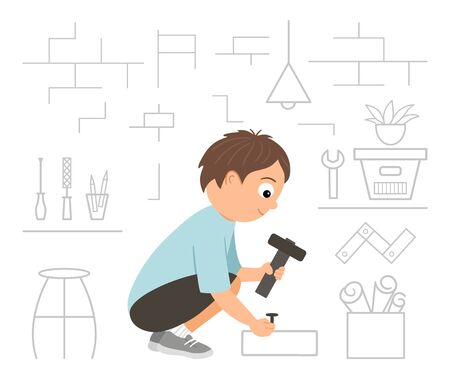 Flat funny sitting kid character nailing up with a hammer on workshop background. Craft lesson illustration. Concept of a child learning how to work with tools. Picture for masterclass advertisement