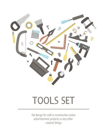 tools set framed in heart shape. Flat colored illustration with building, carpenter equipment for card or poster. Woodwork, repair service or craft workshop concept