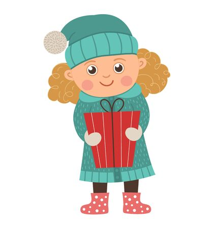 Vector happy girl with curly golden hair holding a present. Cute winter kid illustration isolated on white background. Funny flat style picture for Christmas, New Year or winter design  Иллюстрация